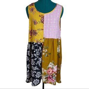 Oddy Sleeveless Mustard Floral patch dress